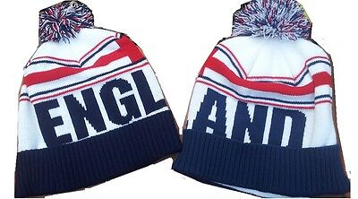 England Team Bobble Hat / Wooly Hat  Beanie Hat Knitted Pom Pom Hat. New