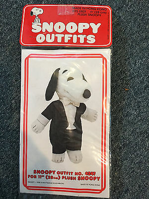 "Vintage Peanuts Snoopy 11"" Plush Tuxedo Outfit Nos Sealed Bag Free Us Shipping"