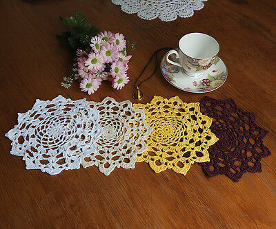 Cotton Hand Crochet Lace Doily Doilies Mat Placemat Round 19CM in 4 Colours FP01