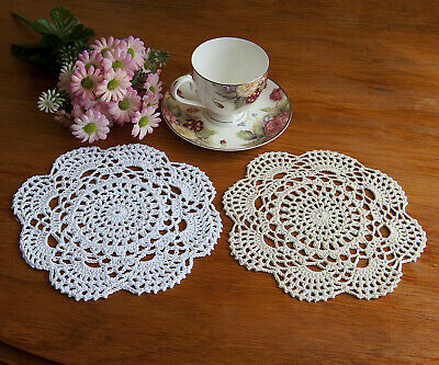 Pure Cotton Yarn Hand Crochet Lace Doily Placemat Round 20CM White/Ecru FP07