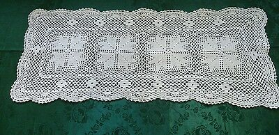 Stunning Vintage Hand Crocheted  White  Table Runner 77Cm X 31Cm