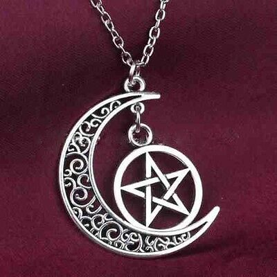 Pagan Wicca Goddess Chain Pendant Necklace Silver Amulet Moon Pentacle + Pouch
