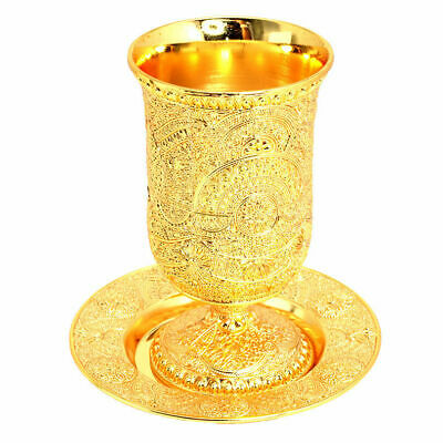"Brand New Gold Plated 5"" Filigree Kiddush Cup Goblet & Plate Israel Judaica Gift"
