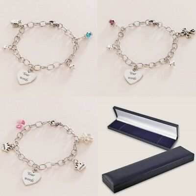 Charm Bracelets with Engraving & Birthstone, Personalised Jewellery Gift