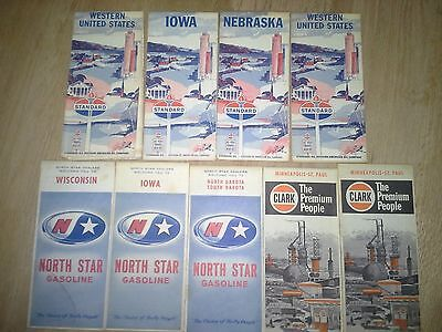 Lot of 9 Vintage Oil Company Gas Station Road Maps North Star Standard Clark
