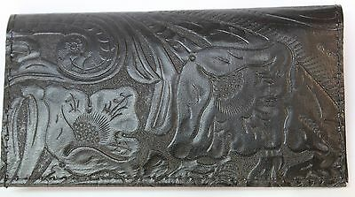 Jet Black Western Floral  Embossed Leather Check Book Cover Free Shipping