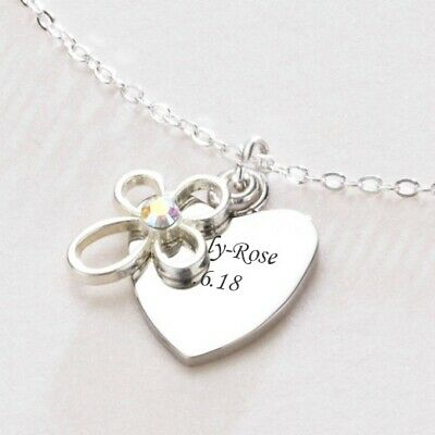 Engraved Heart & Cross Necklace Gift, Free Engraving on Pendant, Communion Gift
