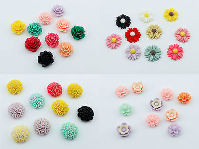 10pcs Resin Flowers Rose Daisy 6mm - 20mm Embellishment Cabochons Decoden