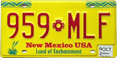 New Mexico YELLOW ZIA SUN License Plate