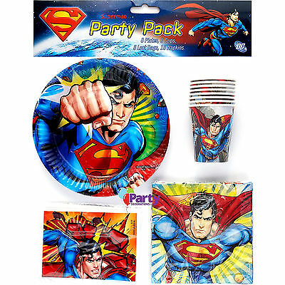 New Superman Kids Birthday Party Pack Supplies Plates Cups Decorations