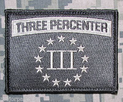 THREE PERCENTER USA MILITARY TACTICAL ARMY MORALE BADGE ACU LIGHT VELCRO PATCH