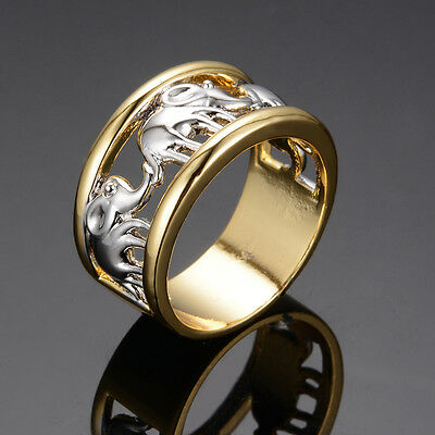 Silver Elephant Band Engagement Rings Size 6-10 Women's 10KT Yellow Gold Filled