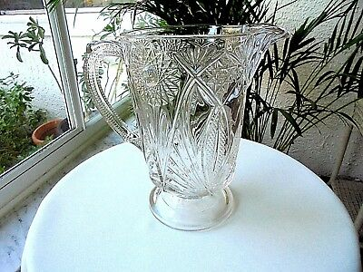 EAPG McKee Glass Clear Jubilee Pattern Antique Glass Pitcher 1850-1899