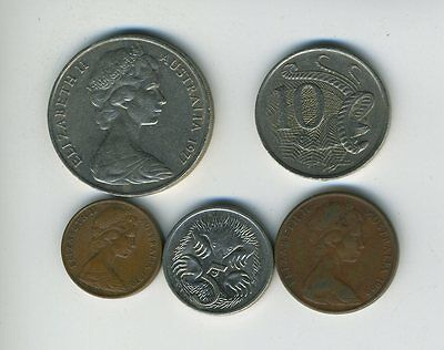 Australia - Lot of 5 Coins - 1, 2, 5, 10 & 20 Cents - Exotic Animals - Lot - #29