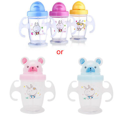 New Cute Durable Children Baby Straw Cup Drink Bottles Sippy Cups Handles 200ML