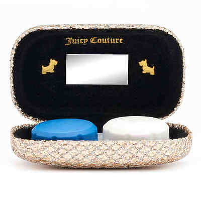NEW! Juicy Couture HARD Contact Lens Travel Case with mirror - Gold Leopard