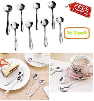 Tea Spoons Assorted Flower Stainless Steel Coffee Spoon Kitchen Unique Set of 8