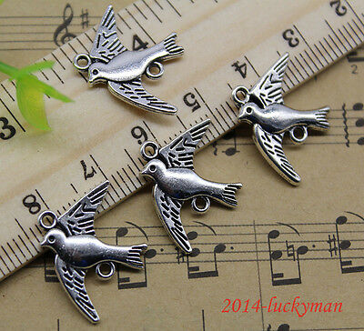 8/30/60/100pcs Retro style swallows  alloy charms pendant connector 21x17mm
