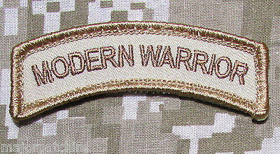 Modern Warrior Rocker Tab Usa Army Tactical Military Morale Desert Hook Patch