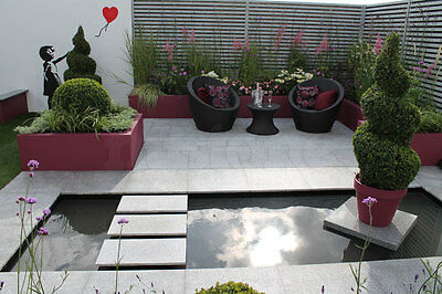 Natural Silver Grey Granite Paving Slabs - Garden Patio Stone Flags Flamed