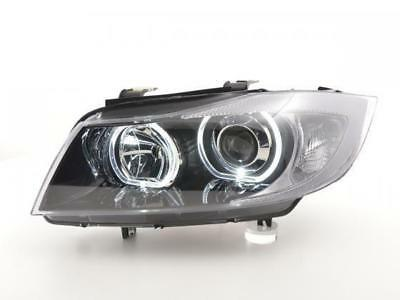 Coppia fari anteriori Angel Eyes LED per BMW serie 3 E90/E91 2005 - 2011 nero