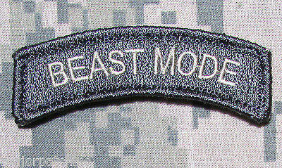 Beast Mode Usa Army Rocker Tab Military Tactical Morale Acu Light Hook Patch