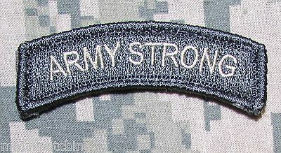 Army Strong Rocker Tab Usa Tactical Military Morale Badge Acu Light Hook Patch