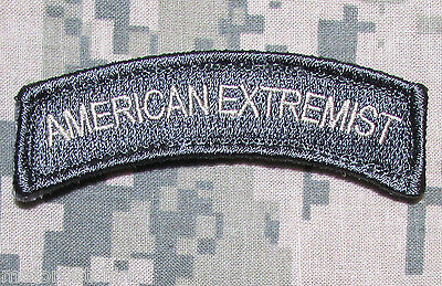American Extremist Rocker Tab Us Army Usa Military Morale Acu Light Hook Patch