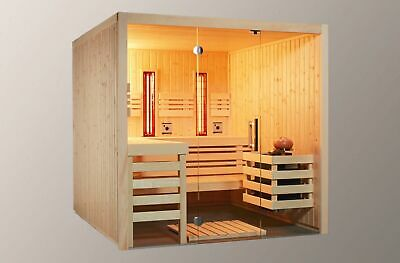 sauna mit glasfront 230 x 190 cm massivholz harvia cilindro saunaofen xenio eur. Black Bedroom Furniture Sets. Home Design Ideas