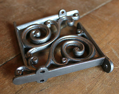 "Pair of 4"" SMALL ANTIQUE VINTAGE CAST IRON VICTORIAN SHELF WALL BRACKETS BR01px2"