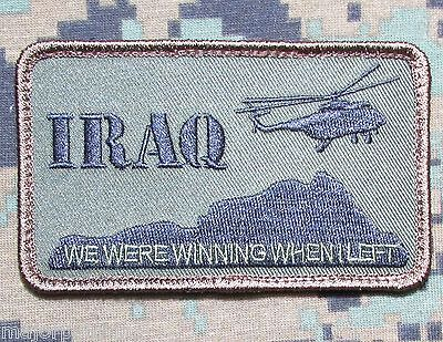 IRAQ WE WERE WINNING ARMY TACTICAL US MILITARY MORALE BLACK OP SWAT VELCRO PATCH
