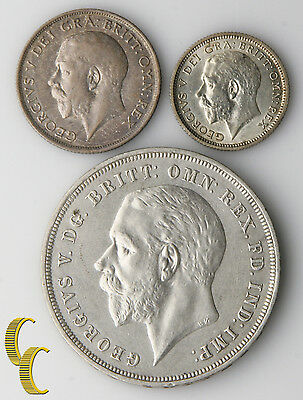 Great Britain George V Coins Lot (XF-AU) 1918 Shilling 1926 Sixpence 1935 Crown
