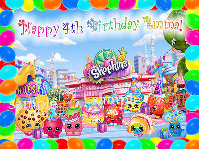 SHOPKINS Edible ICING Image Personalized Birthday CAKE Topper Decoration