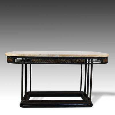 Vintage French Art Deco Style Entry Table Gilded Iron Marble France 20Th C.