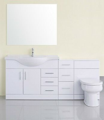 1850mm High Gloss White Vanity Cabinet Unit & Back to Wall BTW Toilet Furniture