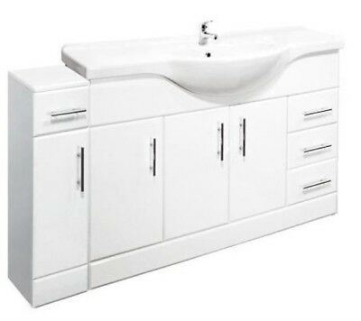 1450mm High Gloss White Bathroom Set Vanity Cabinet Basin with Cupboard Unit