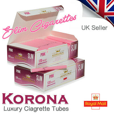 120 Korona Slim Pink Empty Cigarette Filter Tubes