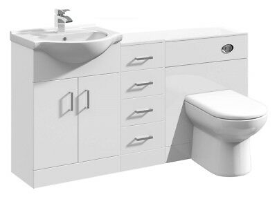 1450mm High Gloss White Bathroom Vanity, BTW Toilet Unit & Storage Cabinet
