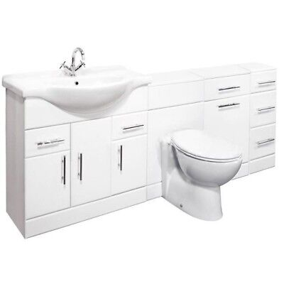 1950mm High Gloss White Bathroom Vanity Cabinet Unit & WC Back to Wall Furniture