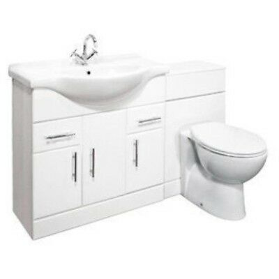 1350mm High Gloss Bathroom Suite - Vanity Cabinet Unit & WC Back to Wall Toilet