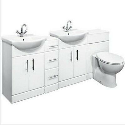 2150mm High Gloss White Bathroom Vanity Cabinet Units, BTW Toilet & Cupboards