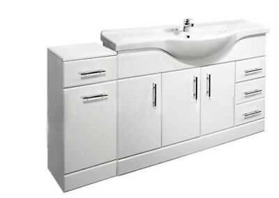 1550mm High Gloss White Bathroom Set Vanity Cabinet Unit with Laundry Cupboard