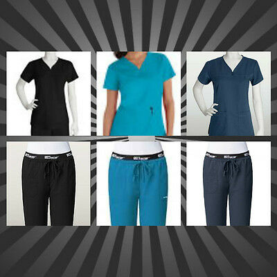 New Grey's Anatomy Medical Scrubs Uniform Women 3-pocket empire v-neck Pants&Top