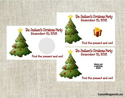 Christmas Holiday Tree Party Scratch Off Tickets Game Cards Favors Custom