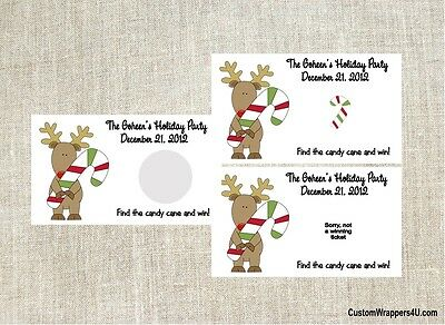 Christmas Reindeer Rudolph Party Scratch Off Tickets Game Cards Favors Custom
