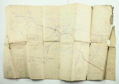 Rare Original WW I Trench Map - Northern France - Nord-Pas-De-Calis c. 1914-1918