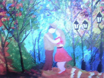 "Fridge Magnet, Kissing in the Moonlight  Quirky large  4.25"" x 5.5"""