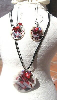 Day Of The Dead White Shell Necklace & Pierced Earring Set Mexico Free Shipping