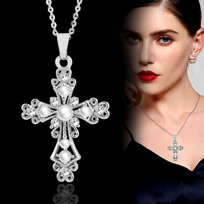 Fashion Hollow Cross Pearl Pendant Necklace Chain For Women Silver Plated Xl283