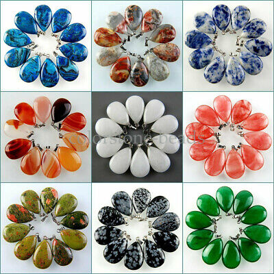 Wholesale Charming 10pcs Mixed Gemstone Waterdrop Pendant Bead H-BSD39